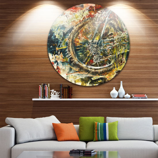 Design Art Mountain Bike Oil Painting Disc Abstract Metal Artwork