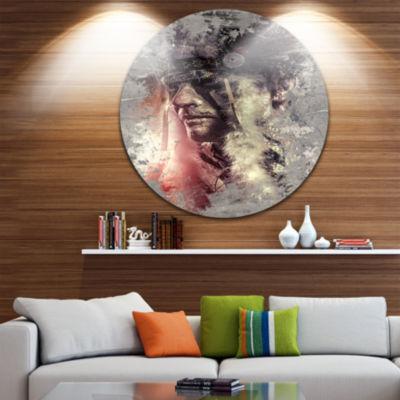 Design Art Native American Indian Warrior AbstractPortrait Circle Metal Wall Art