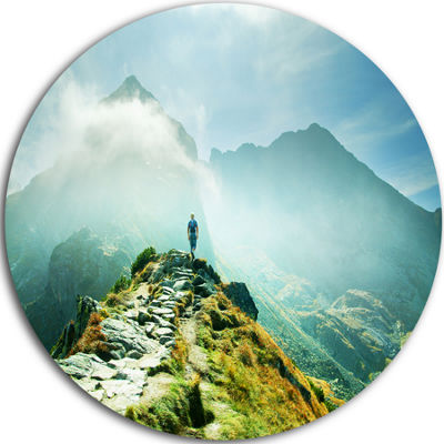 Design Art Mountains Landscape Disc Photography Circle Metal Wall Art