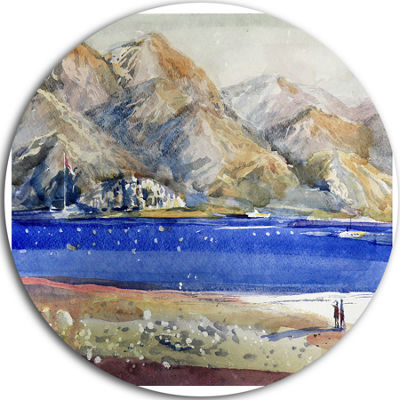 Design Art Mountains and Blue Sea Landscape CircleMetal Wall Art