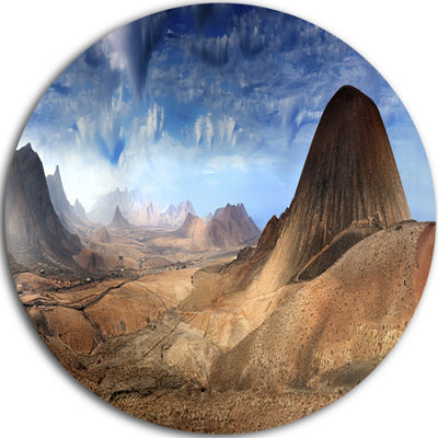 Design Art Mountain Scenery Panorama Disc Landscape Photography Circle Metal Wall Art