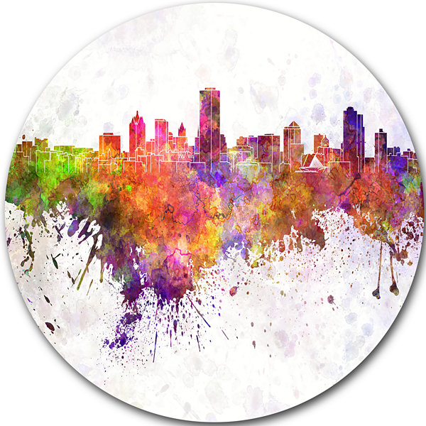 Design Art Milwaukee Skyline Disc Cityscape MetalArtwork Print