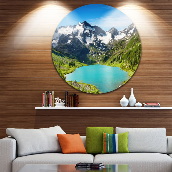 Design Art Mountain Lake Disc Landscape Photography Circle Metal Wall Art