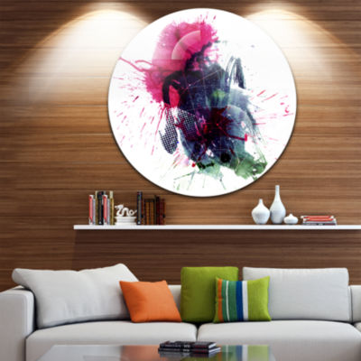 Design Art Multicolor Abstract Stain Disc AbstractCircle Metal Wall Art