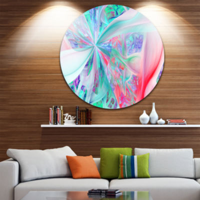 Design Art Multi Color Fractal Exotic Plant StemsAbstract Round Circle Metal Wall Art