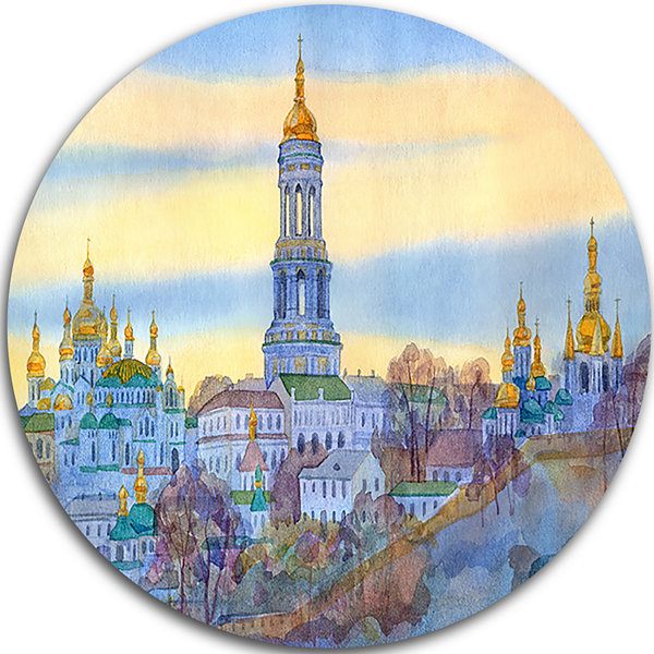 Design Art Monastery on Steep Hill Disc CityscapePainting Circle Metal Wall Art