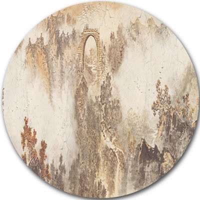 Design Art Nature in Vintage Style Landscape Photography Circle Circle Metal Wall Art