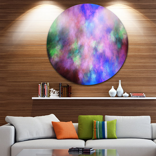 Design Art Multi Color Bright Sky with Stars Abstract Round Circle Metal Wall Decor