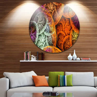 Design Art Multi Color Dramatic Clouds Abstract Round Circle Metal Wall Decor