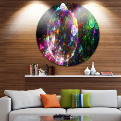 Design Art Multi Color Fractal Spherical Bubbles Abstract Round Circle Metal Wall Art