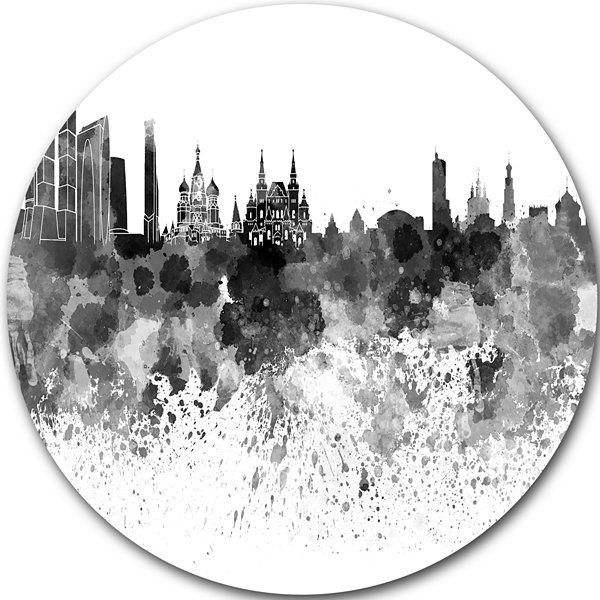 Design Art Moscow Skyline Disc Cityscape Circle Metal Wall Art