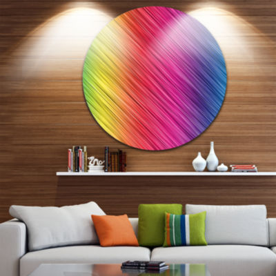 Design Art Multi Color Neon Glowing Lines Large Abstract Circle Metal Wall Art