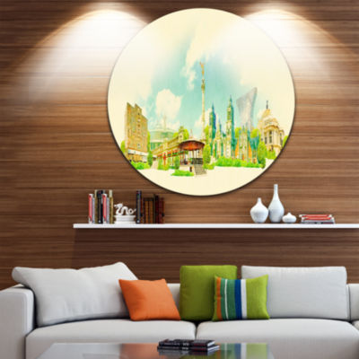 Design Art Mexico City Panoramic View Disc Cityscape Watercolor Circle Metal Wall Art