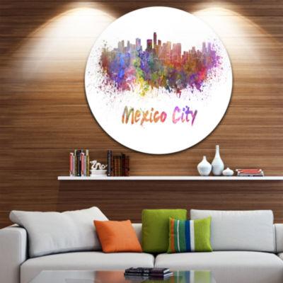 Design Art Mexico City Skyline Cityscape Circle Metal Wall Art