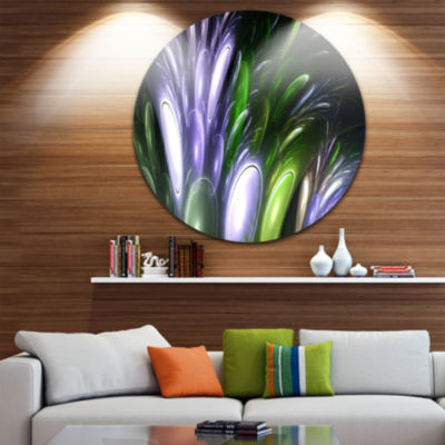 Design Art Mysterious Psychedelic Flower AbstractRound Circle Metal Wall Decor Panel