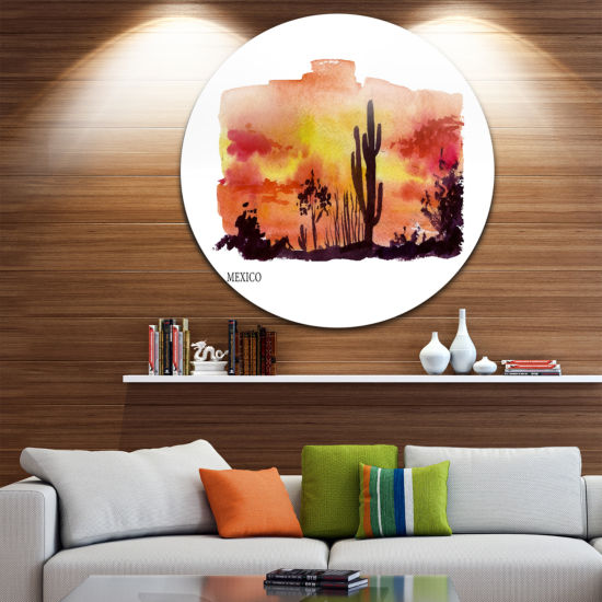 Design Art Mexico Vector Illustration Disc Cityscape Painting Circle Metal Wall Art
