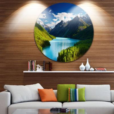 Design Art Mountain Lake in Dark Shade Disc Landscape Photo Circle Metal Wall Art