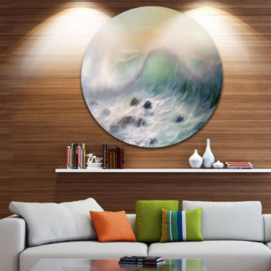 Design Art Mountains of Waves Seascape Circle Metal Wall Art