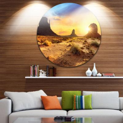 Design Art Monument Valley Landscape Disc Photography Circle Metal Wall Art
