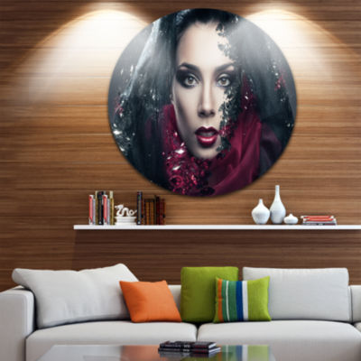 Design Art Mysterious Woman Disc Portrait Contemporary Circle Metal Wall Art