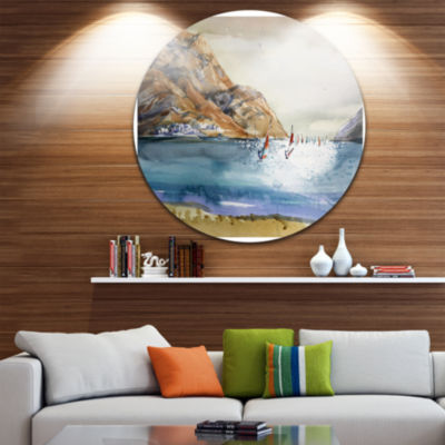 Design Art Mountains in Sea Seascape Circle MetalWall Art