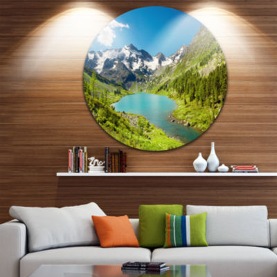 Design Art Mountain Lake with Green Hills Disc Photography Circle Metal Wall Art