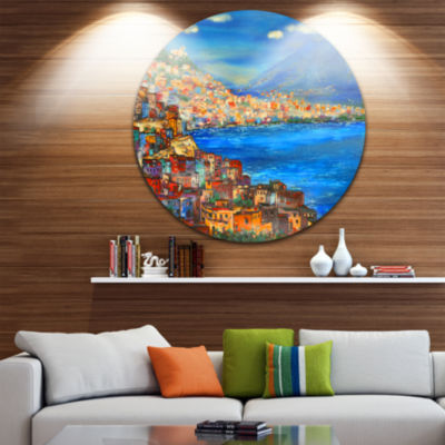 Design Art Naples Today Seascape Circle Metal WallArt