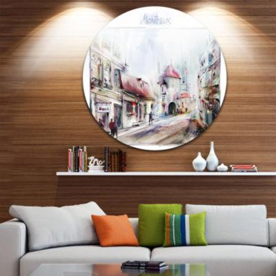 Design Art Montreux Illustration Disc ContemporaryLandscape Circle Metal Wall Art