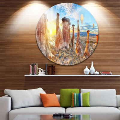Design Art Mushrooms Disc Landscape Photography Circle Metal Wall Art