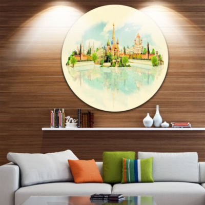 Design Art Moscow Panoramic View Disc Cityscape Watercolor Circle Metal Wall Art