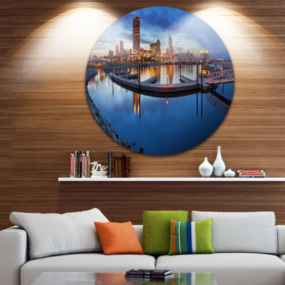 Design Art Milwaukee Panoramic View Cityscape Photo Circle Circle Metal Wall Art