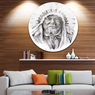 Design Art Native American Indian Portrait CircleMetal Wall Art