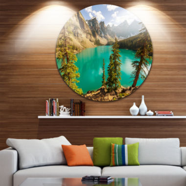 Design Art Moraine Lake in Banff National Park Disc Landscape Circle Metal Wall Art
