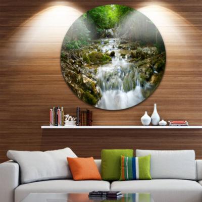 Design Art Natural Spring Waterfall Landscape Photography Circle Metal Wall Art