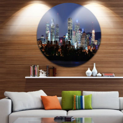 Design Art Montreal Over River at Dusk Disc Cityscape Photo Circle Metal Wall Art
