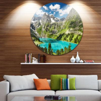 Design Art Mountain Lake and Blue Sky Disc Photography Circle Metal Wall Art