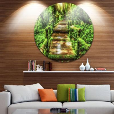 Design Art Moss around Wooden Walkway in Rain DiscPhotography Circle Metal Wall Art