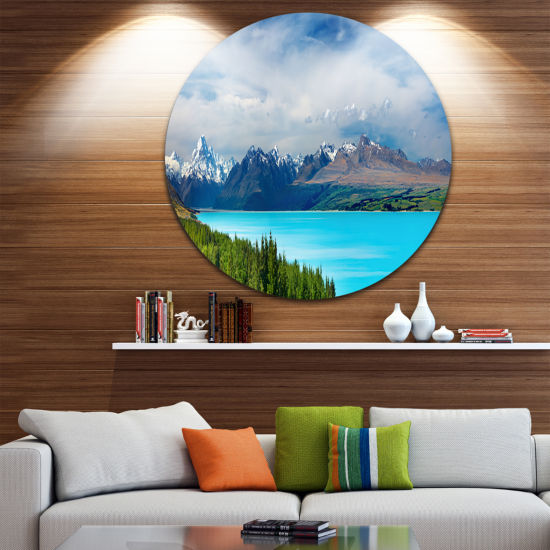 Design Art Mount Cook New Zealand Landscape Disc Photography Circle Metal Wall Art