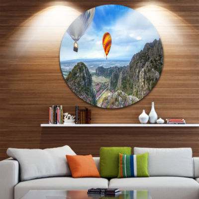 Design Art Mountains and Balloon Landscape Disc Photography Circle Metal Wall Art