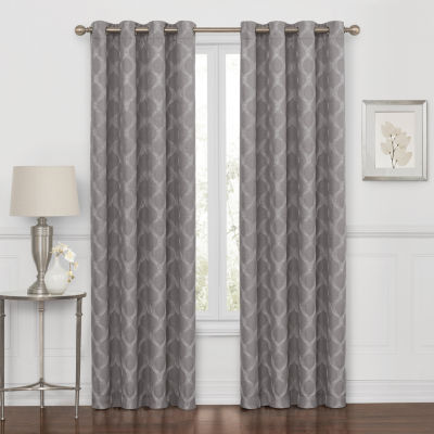 Embroidered Geometric 100% Blackout Grommet-Top Curtain Panel