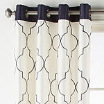 JCPenney Home Westfield Embroidered Light-Filtering Grommet-Top Single Curtain Panel