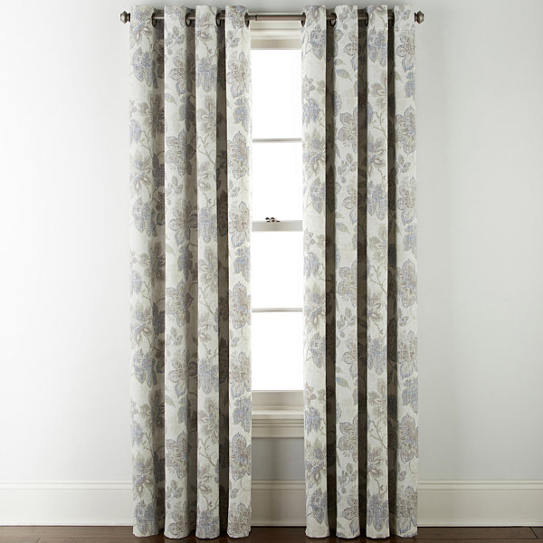 JCPenney Home Sullivan Floral Blackout Grommet-Top Curtain Panel