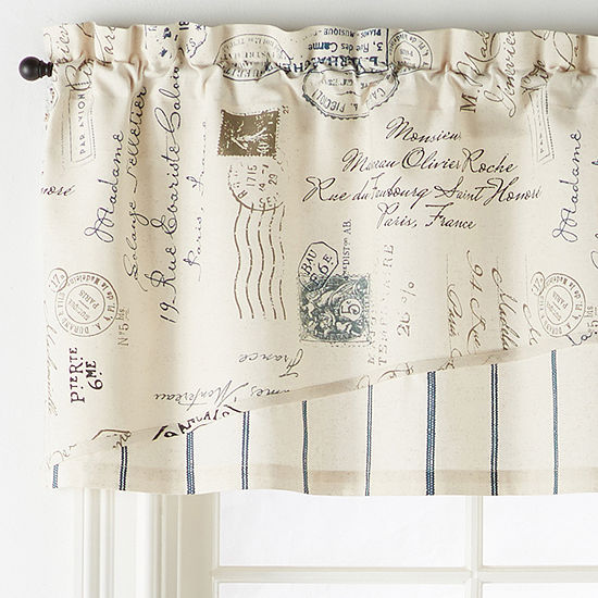 Home Expressions French Script Rod-Pocket Arch Valance