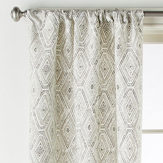 Home Expressions Tribal Diamond Light-Filtering Rod-Pocket Curtain Panel
