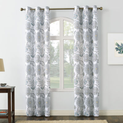 No 918 Valerie Janelle Light-Filtering Grommet-Top Single Curtain Panel