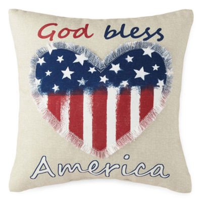 JCPenney Home God Bless America Square Throw Pillow