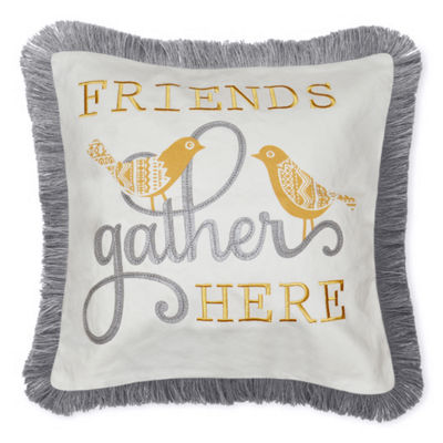 Friends Gather Square Throw Pillow