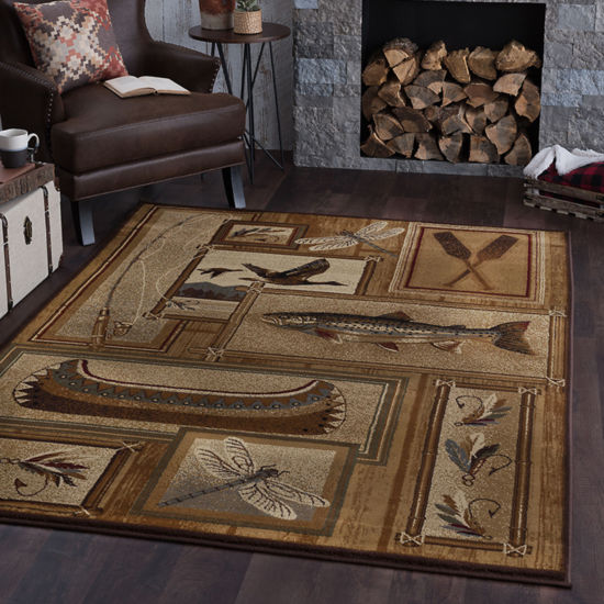 Tayse Nature Trout Fishing Rectangular Rug
