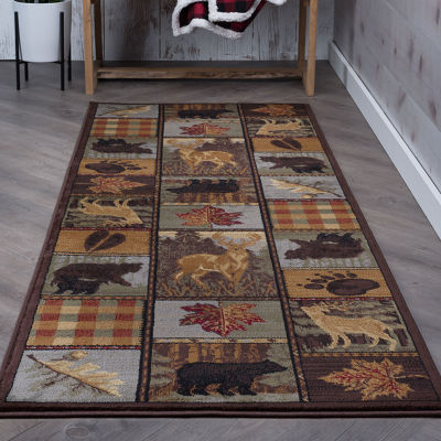 Tayse Nature Colorblock Wildlife Runner Rug