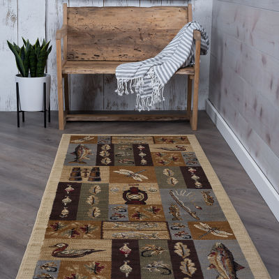 Tayse Nature Fly Fishing Runner Rug